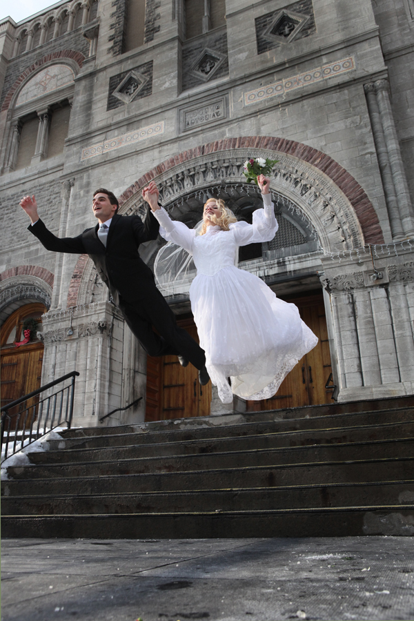 Bride and groom  is flying