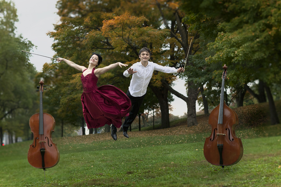 Musicians of Orchestre de Chambre Nouvelle is flying in the air in Montreal