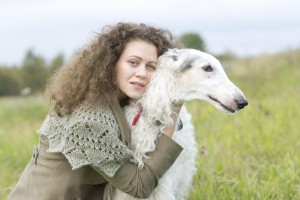 Girl with borzoi dog